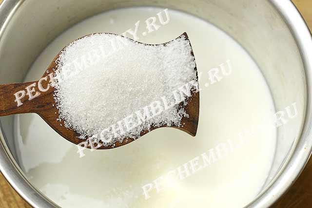 кефир, сахар, соль смешать,
