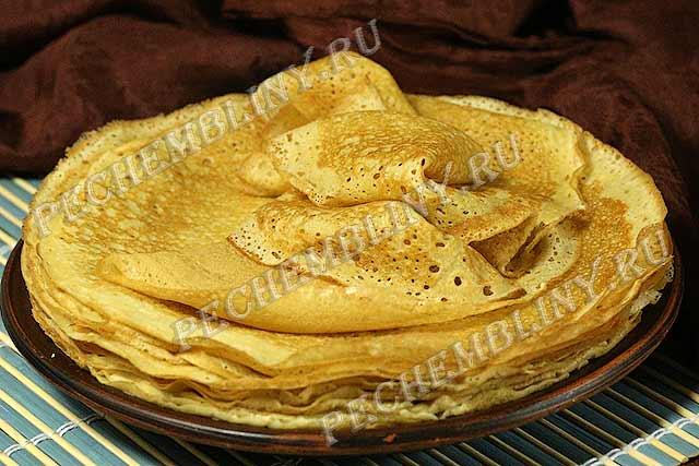 Рецепты блинов на кефире тонкие с начинкой